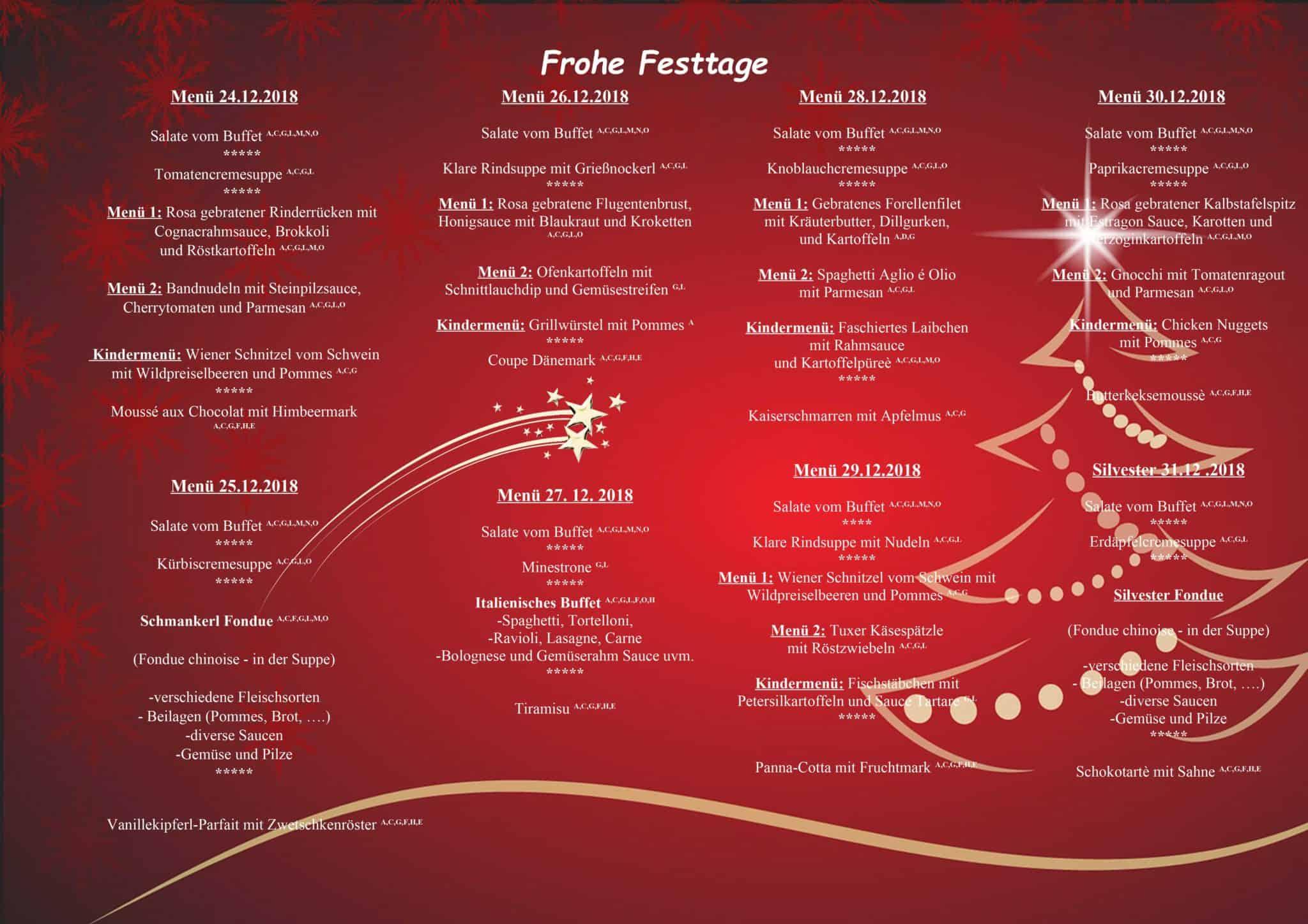 Menü Weihnachten.Frohe Weihnachten Hotel Pinzger In Tux